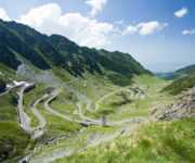 Landscape in Fagaras mountains in Romania, with Transfagarasan road